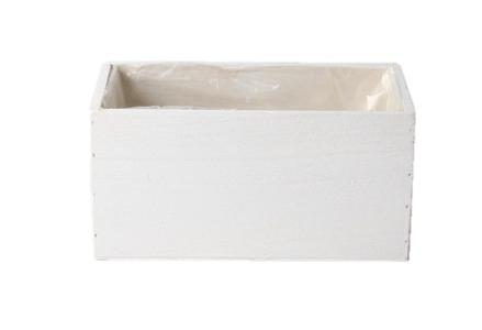 Cassetta legno rettangolare 20x10x10 cm bianca