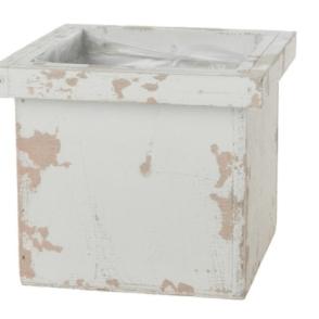Contenitore cubo legno – Grigio sbiancato antico