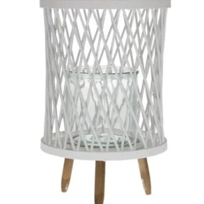 Lanterna in vetro con piedistallo in rattan 25x25x40 cm – bianco