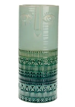 Vaso ceramica con viso 15x15x36 cm - verde
