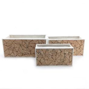 Cassette rettangolari mosaico legno