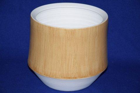 Vaso Madeira jard bianco/effetto legno