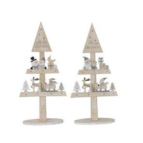 Sagoma legno alberi Natale con personaggi – 2 fantasie