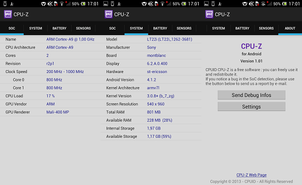 CPU-Z su Android disponibile al download