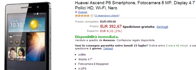 Huawei Ascend P6 Nero a 387 euro su Amazon.it