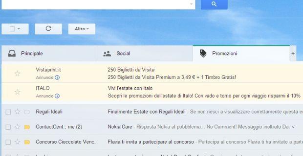 Nuovo layout Gmail: Eliminare Promozioni