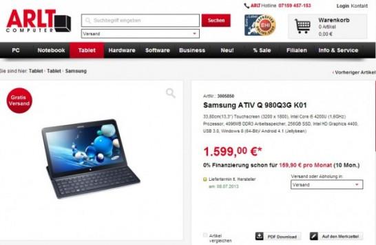 Samsung Ativ Q: Pre-ordine a 1599 euro