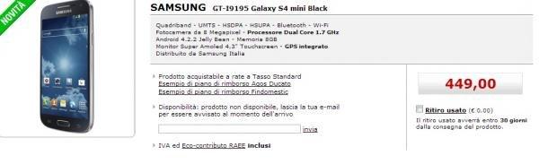 Samsung Galaxy S4 Mini: Data uscita su MediaWorld e prezzo