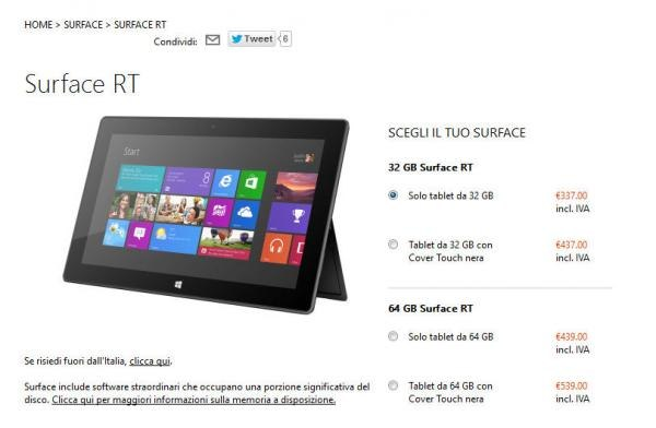 Microsoft: Sconto tablet Surface RT di 150 euro