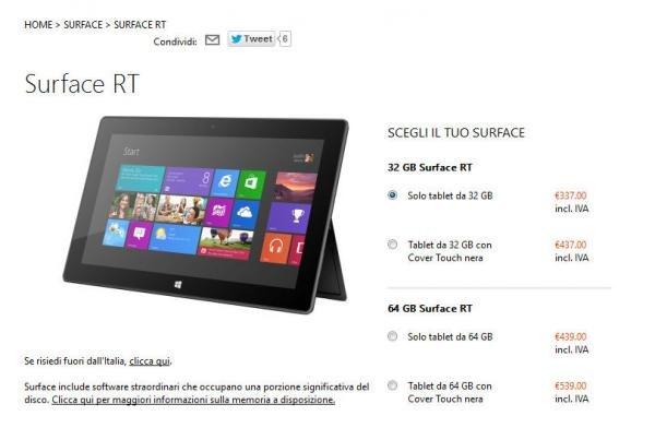 Microsoft: Sconto tablet Surface RT di 150 euro