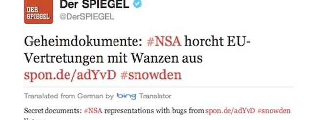 Twitter col traduttore di Bing