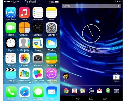 Confronto funzioni iOS 7, Android 4.3 e Android 4.4