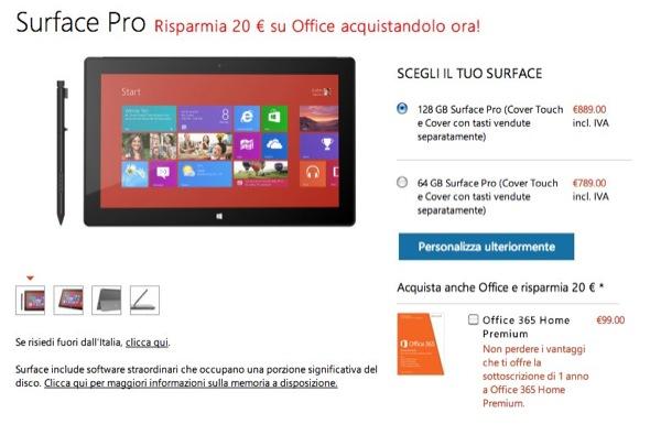 Offerta Microsoft Surface Pro con 100 euro di sconto