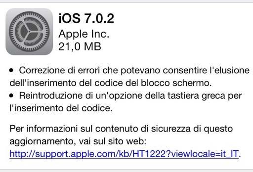 iOS 7.0.2 risolve problema Lock Screen