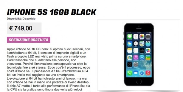 iPhone 5S da 16 GB a 749 euro grazie a Gli Stockisti