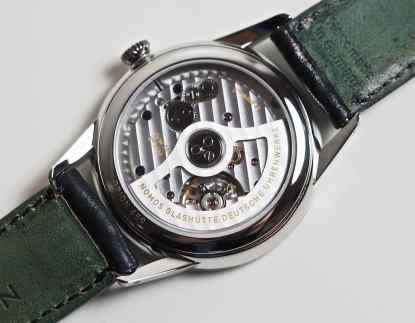 The new DUW3001 movement as seen through the back of the Nomos Neomatik Orion