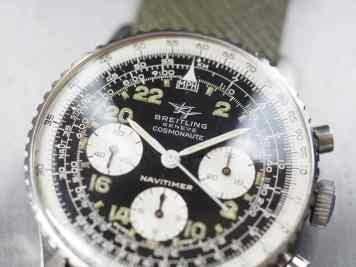 This version of the Breitling 809 Cosmonaute combines the Twin Planes logo with multiple font styles