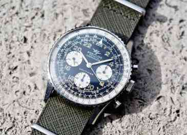 "This Breitling 809 Cosmonaute shows a little green slide rule ""gunk"" around 16:00 - there is no water resistance in this model"