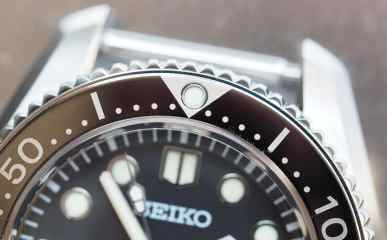 The bezel on the Seiko MM300 is painted onto the steel and it's wonderfully glossy and looks almost ceramic