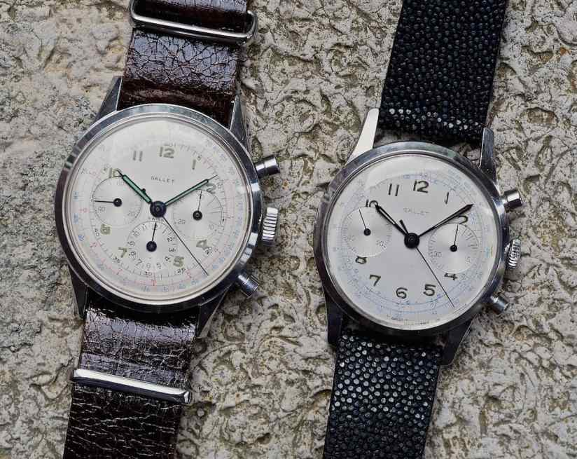 The Gallet Multichron 45 next to a Multichron 12