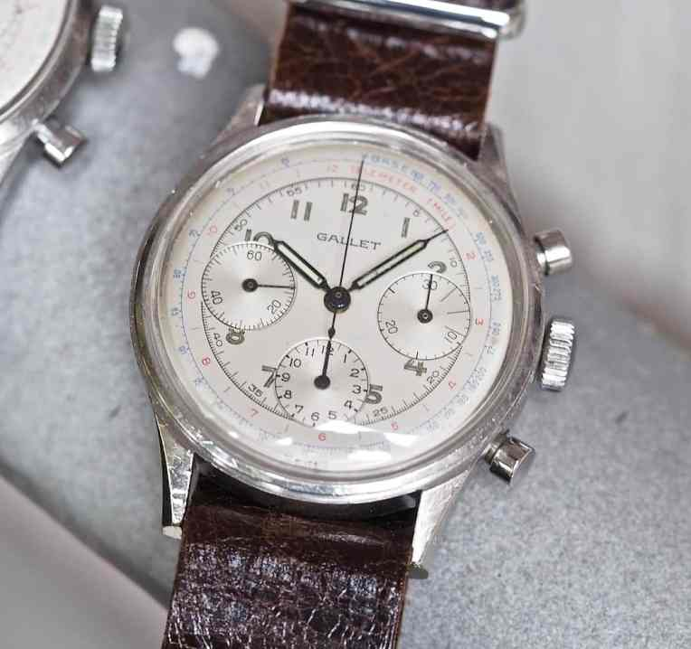 Note the sharp chamfers on the case of the Gallet Multichron 12