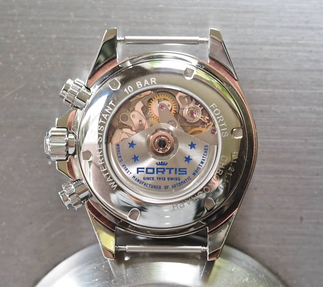 A look at the case back of the Fortis Classic Cosmonauts Chronograph