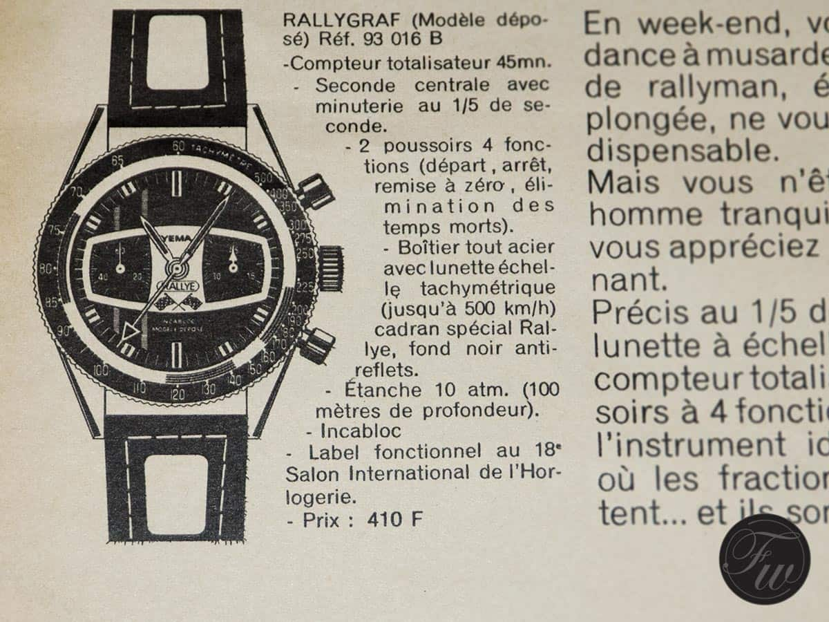 Original advertisement of the Yema Rallye. Price back then: 400 F (+/- 60 Euro or 68 USD)