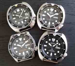 A whole Seiko Diver family (right bottom is the Seiko SRP777)!