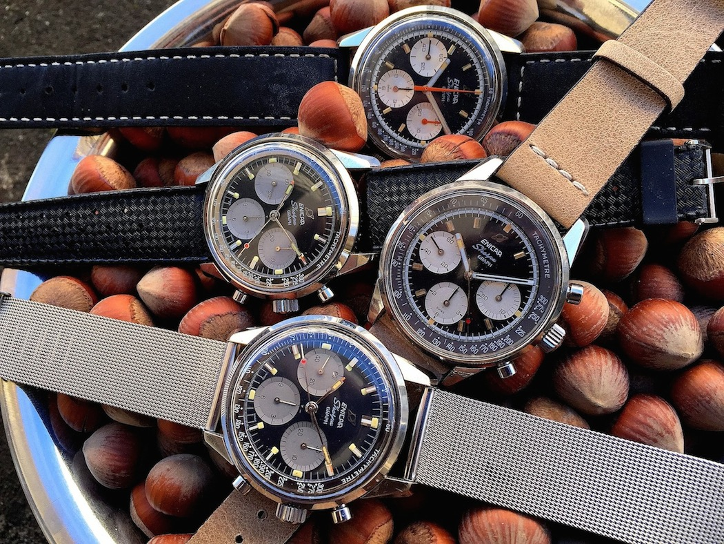 """A group of Enicar Sherpa Graphs.  Focusing on the top piece on the example with brown band would likely provide the most """"bang for the buck"""".  (photo credit: @watchfred)"""