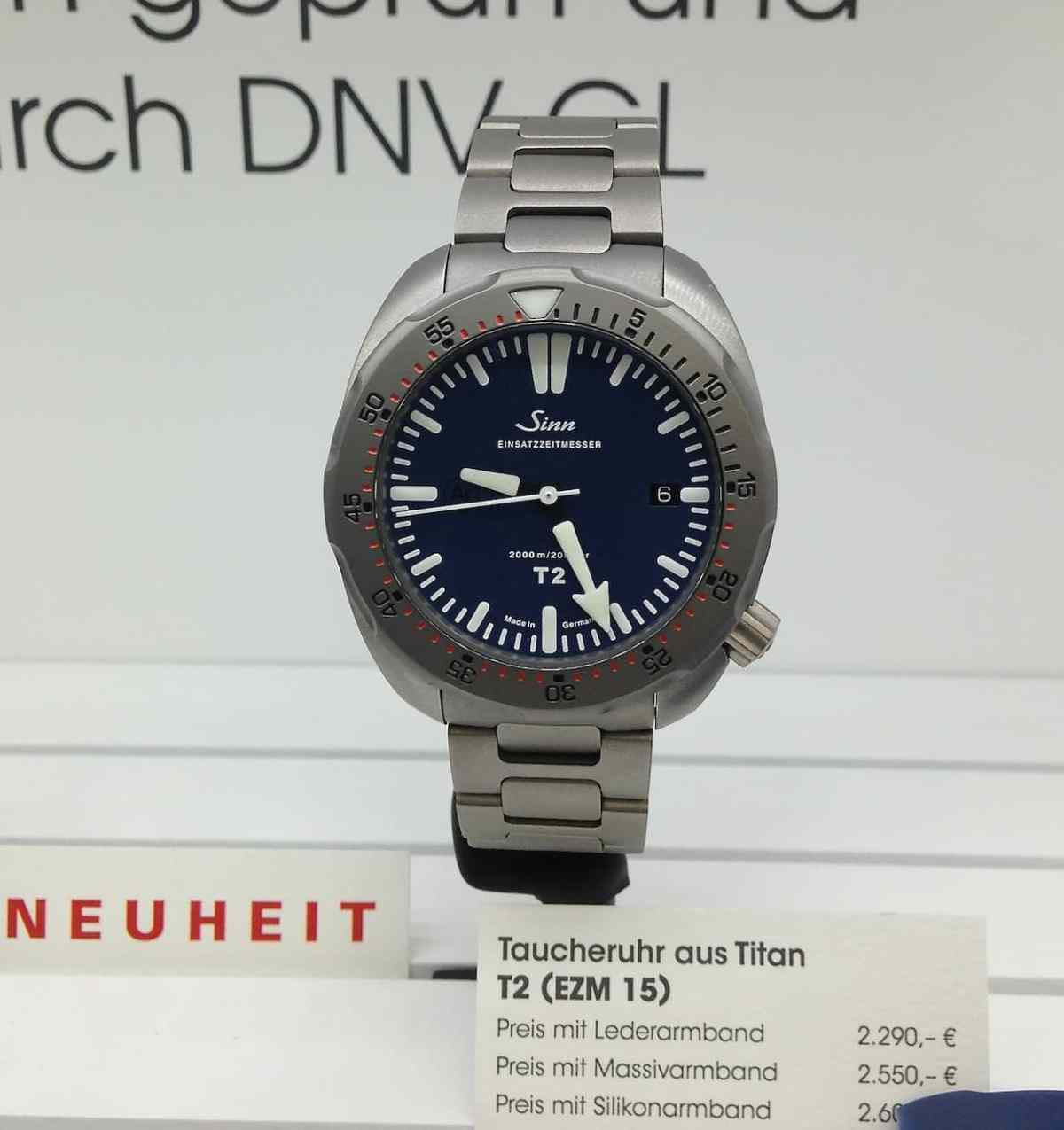 Sinn T2 blue on bracelet