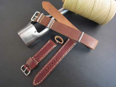 Two straps from Rover Haven: an Arts & Crafts piece and a Mil strap