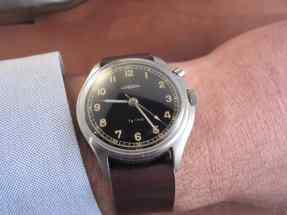 One of Myron's favorites, a Lemania military watch on one of his one-piece straps