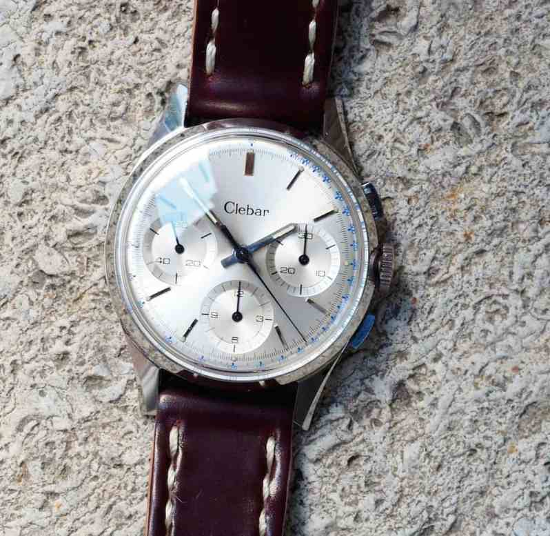 A crisp clean dial adorns the Clebar chronograph