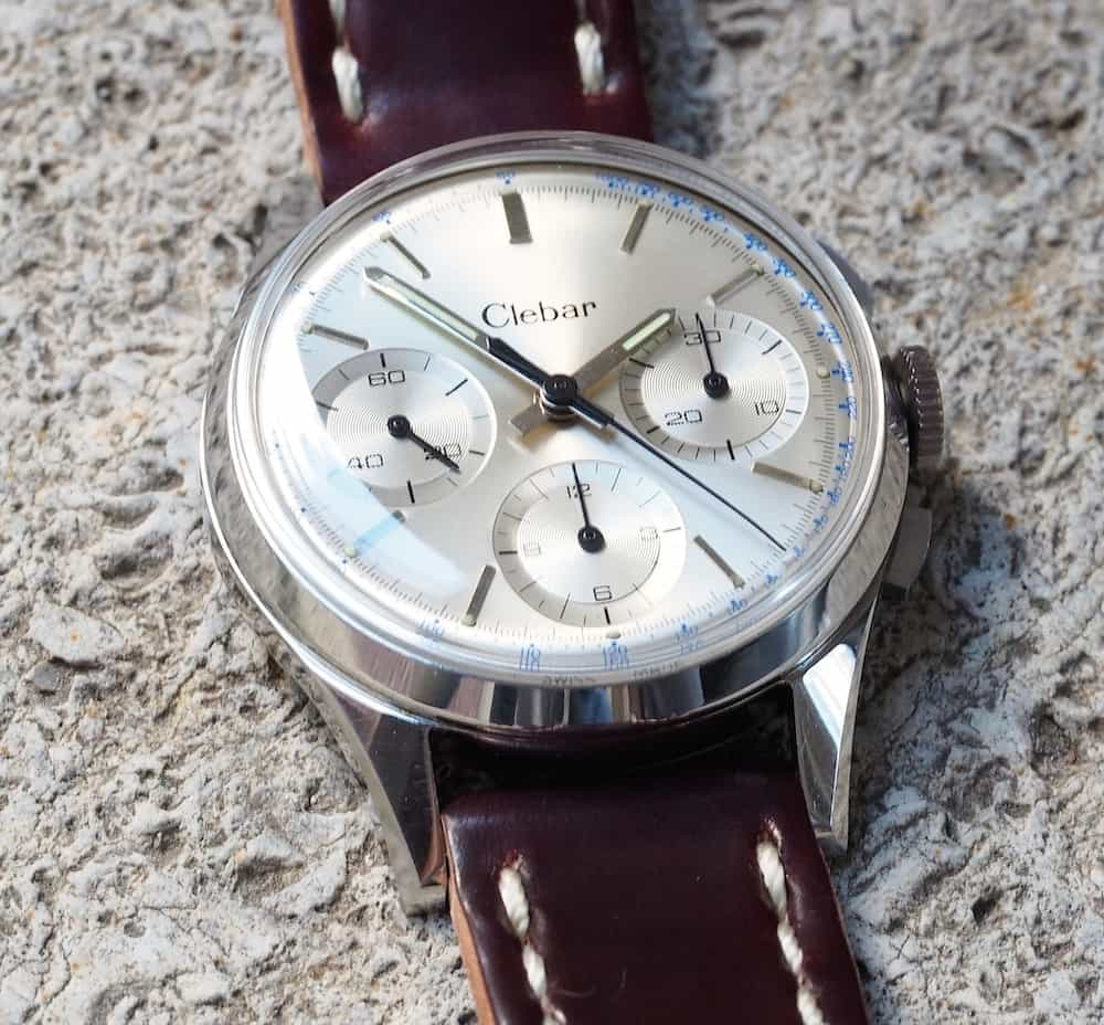 Nice long, chamfered lugs are present on the Clebar chronograph