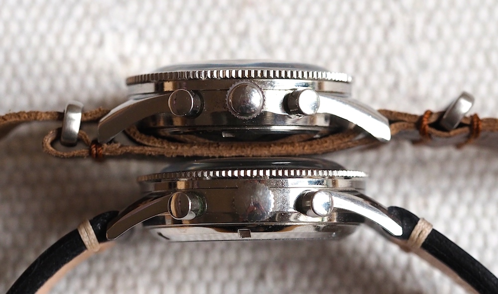 """Another comparison of the Yema Rallye (top) and a Heuer Autavia 2446 """"Rindt"""" (bottom). The crystal and bezel look identical. THe lugs of the Yema are a bit thicker and less sculpted."""