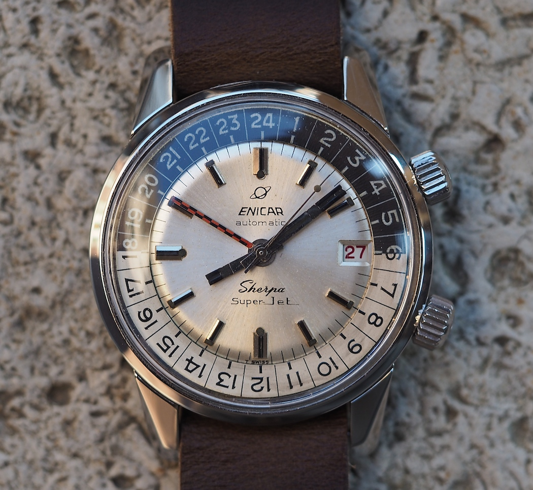 Many font differences on the dial of the Enicar Sherpa Super Jet only add to the charm.