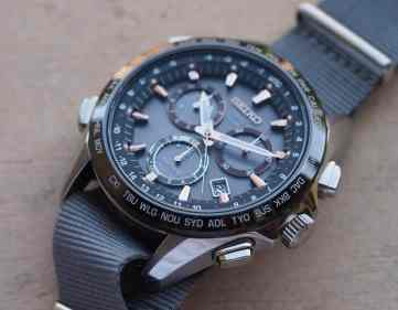 Black ceramic bezel on the Seiko Astron