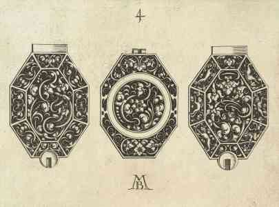 Watchdial design with foliate scroll motives, Michiel le Blon, appr. 1620 – 1626