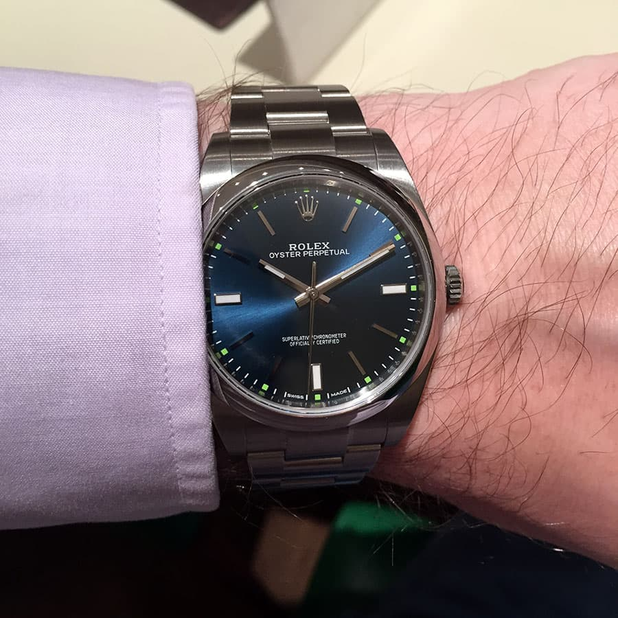 Blue dial Rolex Oyster Perpetual 114300