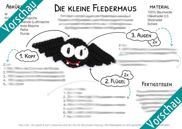 Vorschau Frau Line Häkelanleitung Fledermaus