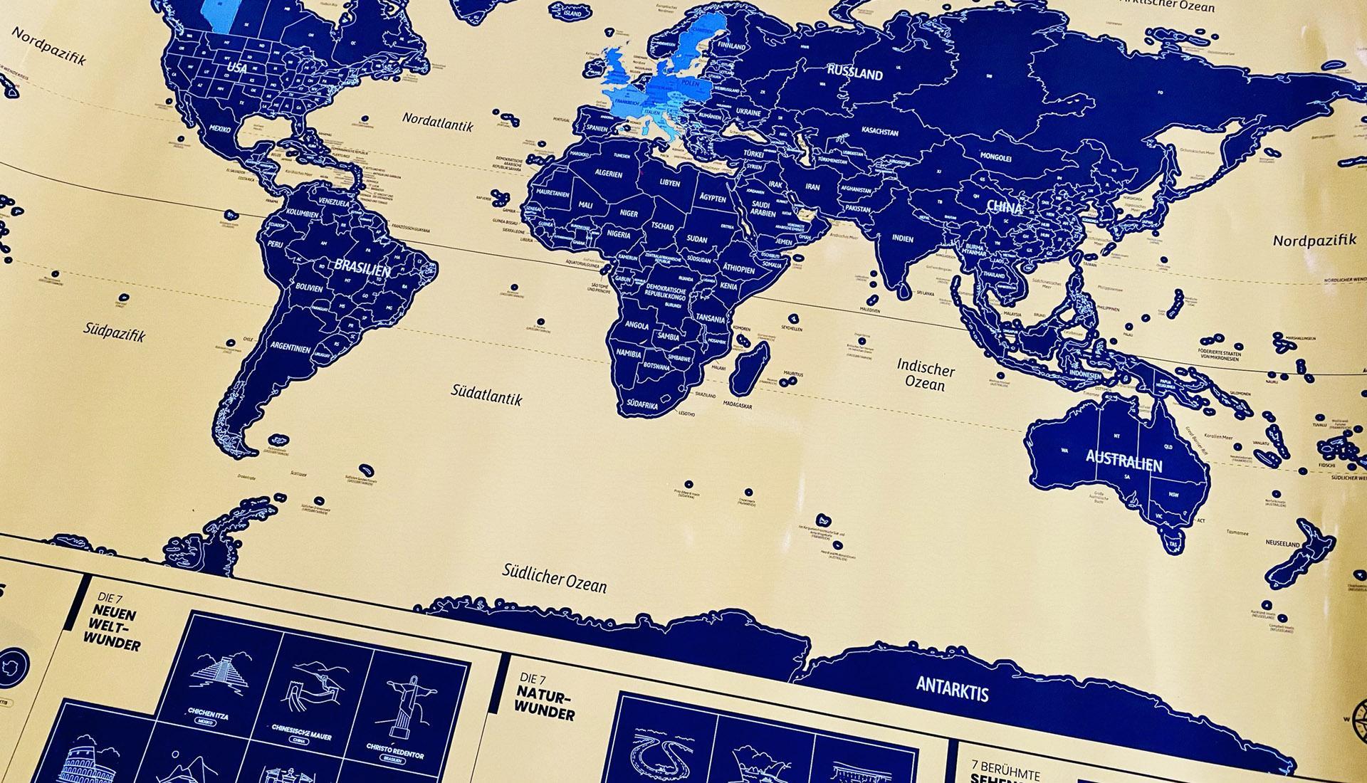 Rubbelkarte - Weltkarte Header