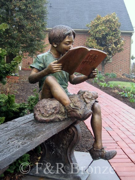 Boy Reading On Bench With Dog Bronze Sculpture