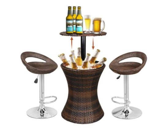 outdoor wicker bar table