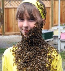 Young girl with bees