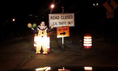 clown on road