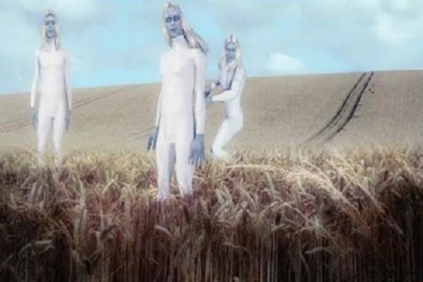 aliens at crop circle