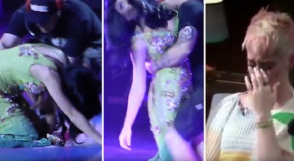 Kary Perry collapses on stage from mind control breakdown