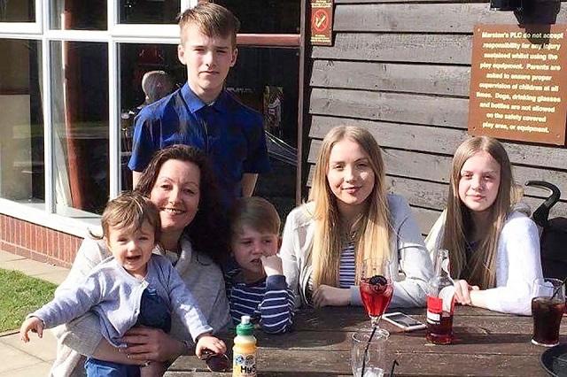 Sally Watts and her children
