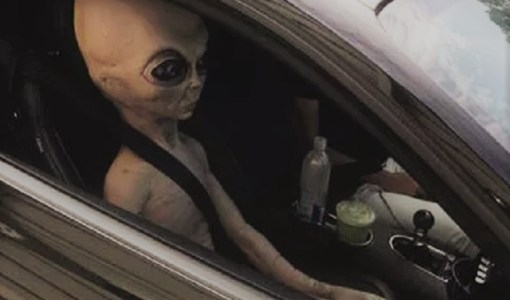 Alien passenger in car at Alpharetta Georgia