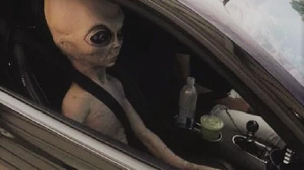 Alien passenger in car at Alpharetta Georgia
